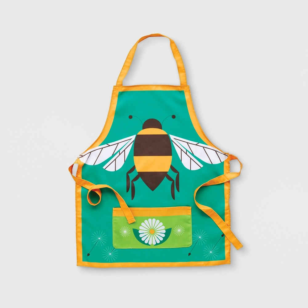 Image of Bee Gardening Apron Yellow One Size - Kid Made Modern, Multi-Colored