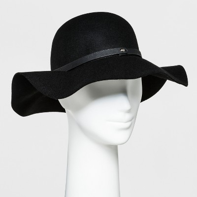 d054d4d4aef Women s Faux Leather Band Felt Floppy Hat - A New Day™ Black