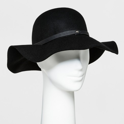 Women's Faux Leather Band Felt Floppy Hat - A New Day™ Black - image 1 of 1