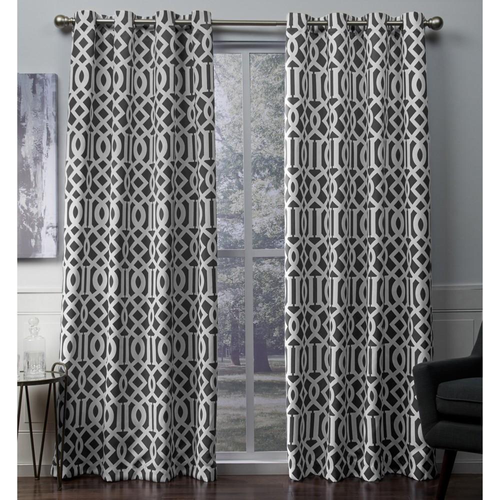 Scrollwork Gated Print Sateen Woven Room Darkening Grommet Top Window Curtain Panel Pair Gray (52