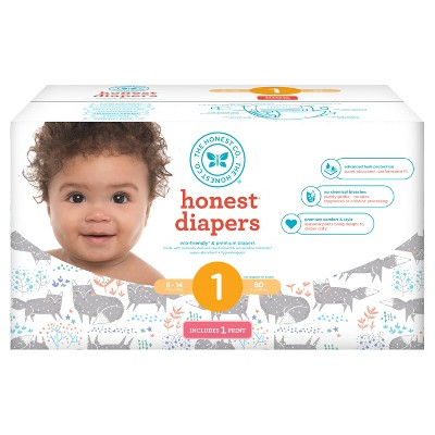 Honest Company Diapers, Club Pack, Arctic Foxes - Size 1 (80ct)