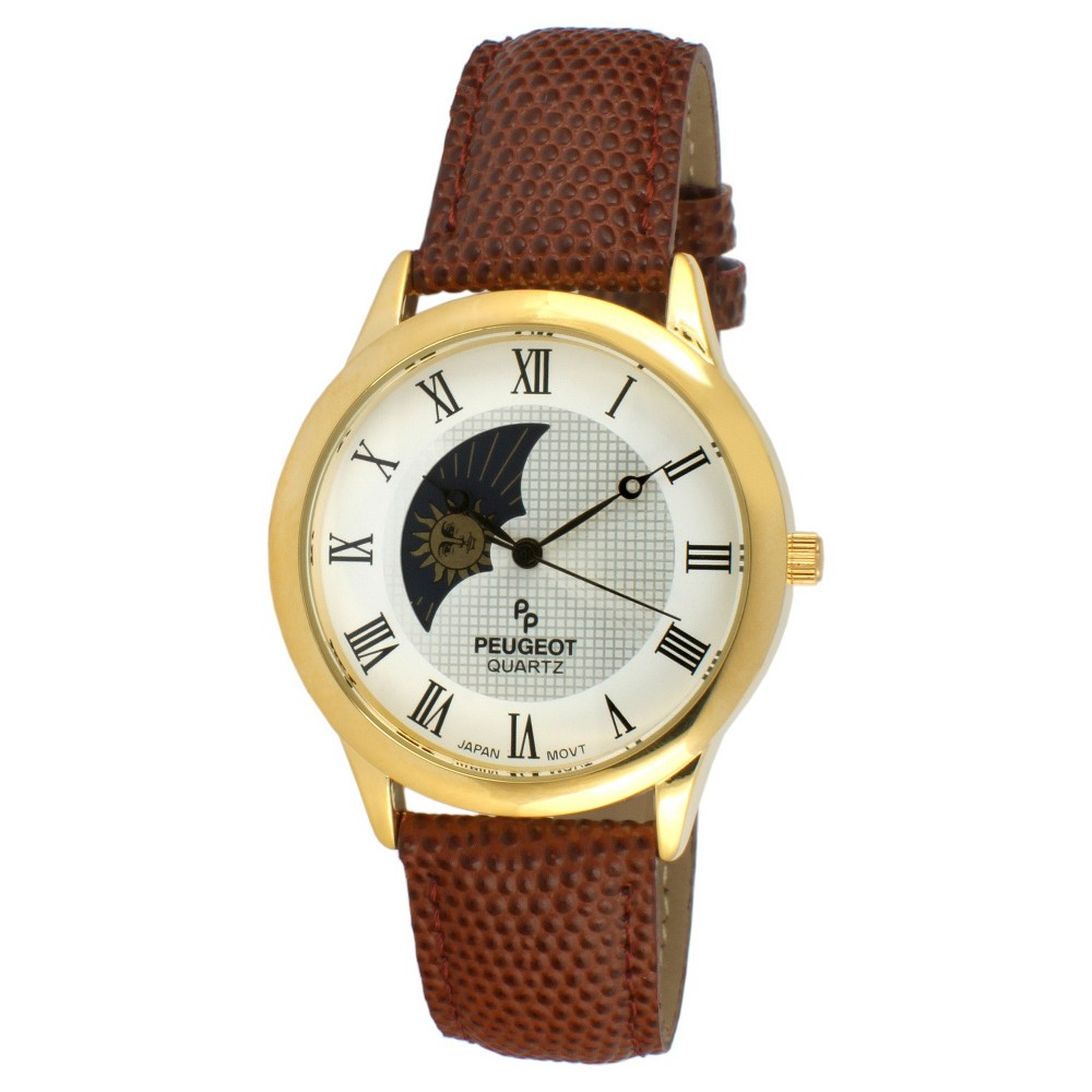 Men's Peugeot Round Sun Moon Leather Strap Watch - Brown, Size: Small