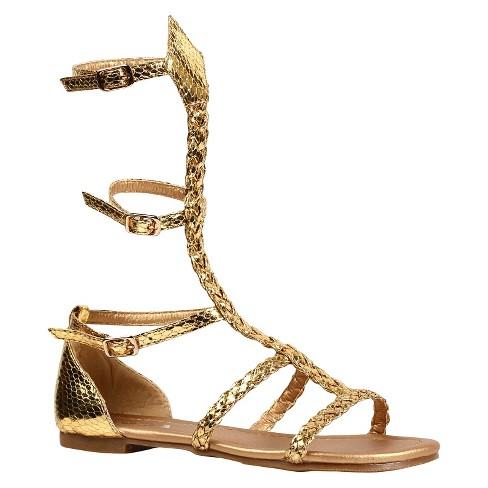 afb02b72f1287 Halloween Girls  Gladiator Sandal Gold Costume   Target