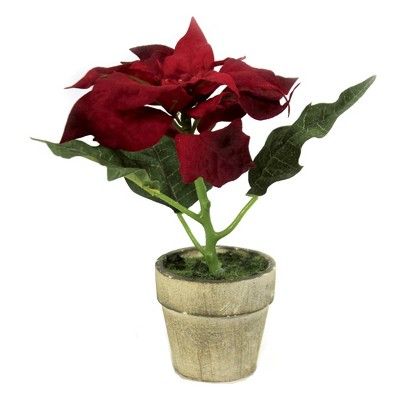 """Christmas 6.25"""" Potted Red Poinsettia Holiday Flower Artificial  -  Decorative Figurines"""