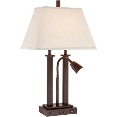 Possini Euro Design Modern Desk Table Lamp with USB Outlet Reading Light LED Bronze Rectangular Linen Shade for Bedroom Office