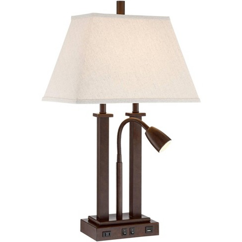 Possini Euro Design Modern Desk Table Lamp With Usb Outlet Reading Light Led Bronze Rectangular Linen Shade For Bedroom Office Target
