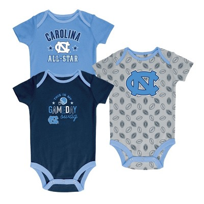 North Carolina Tar Heels Baby Boy Short Sleeve 3pk Bodysuit 3-6M