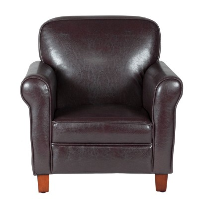 Kids' Faux Leather Accent Chair with Rolled Arms Brown - Home Pop