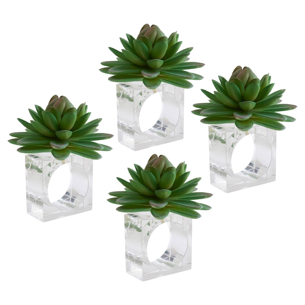Image of 4pk Plastic Succulent Napkin Rings Green - Saro Lifestyle