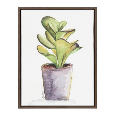 Kate & Laurel 24 x18  Sylvie Succulent In Pot By Jennifer Redstreake Geary Framed Wall Canvas Brown
