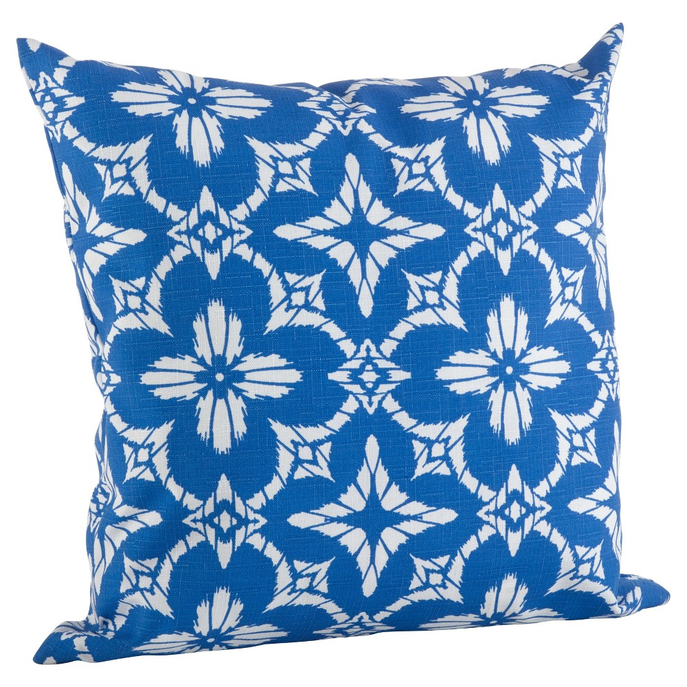 Blue Tile Pattern Indoor/Outdoor Throw Pillow (21) - Saro Lifestyle, Bright Blue