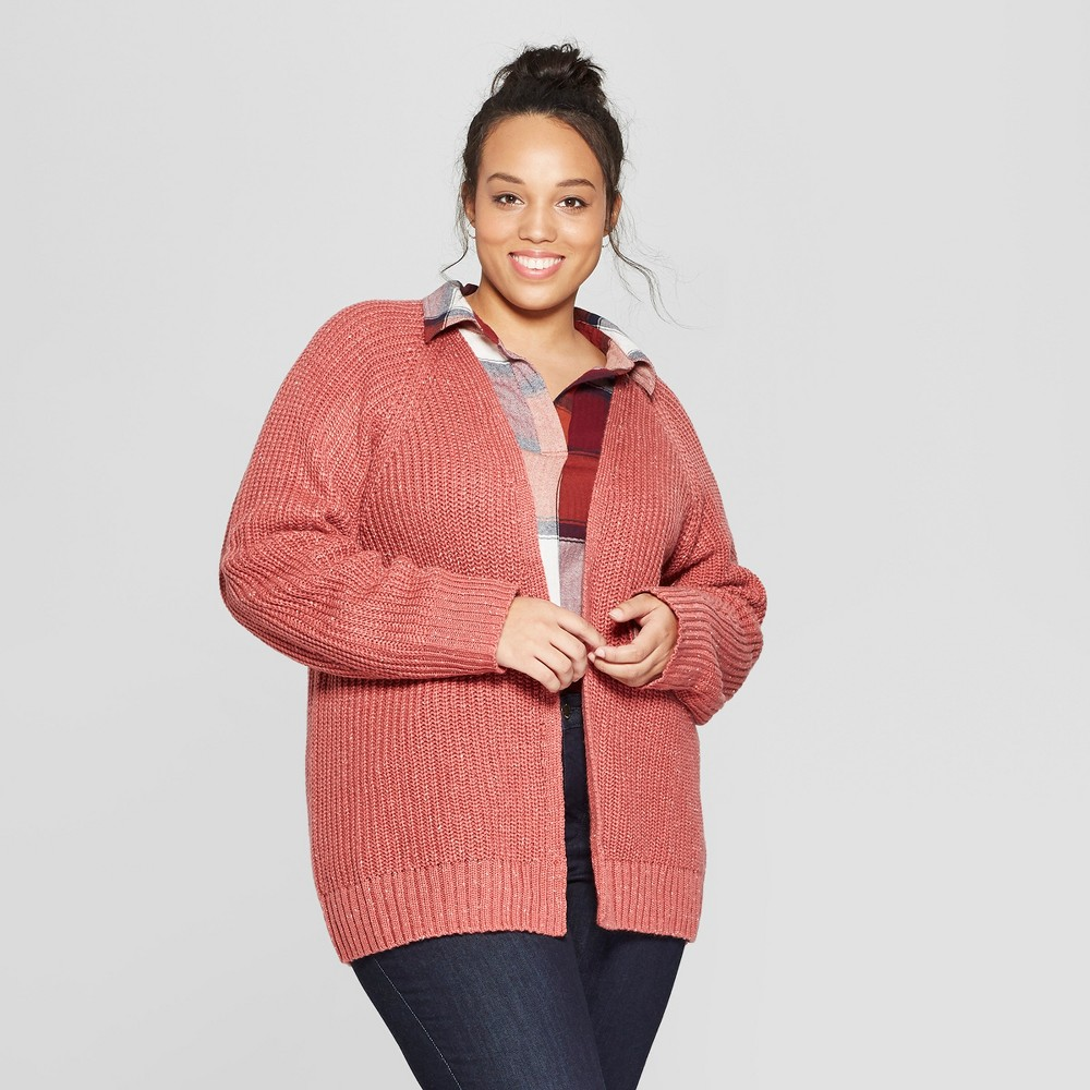 Women's Plus Size Long Sleeve Relaxed Open Layering - Universal Thread Pink 3X