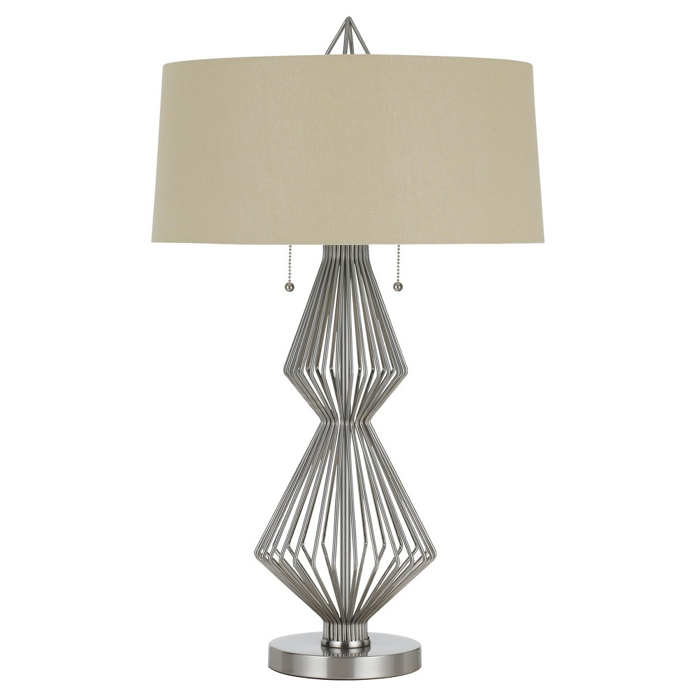 Terni Metal Table Lamp With Burlap Shade 60w X 2 Steel (Silver) (Includes Energy Efficient Light Bulb) - Cal Lighting