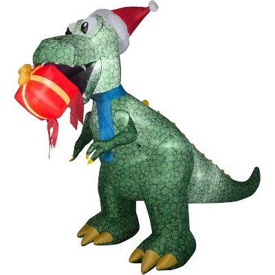 Gemmy Animated Christmas Airblown Inflatable T Rex w/Present, 7.5 ft Tall, green