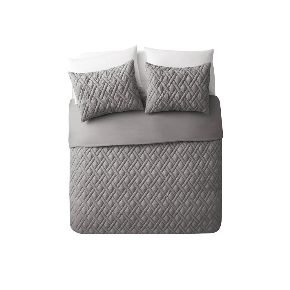 Full/Queen 3pc Lattice Embossed Duvet Set Gray - Vcny Home