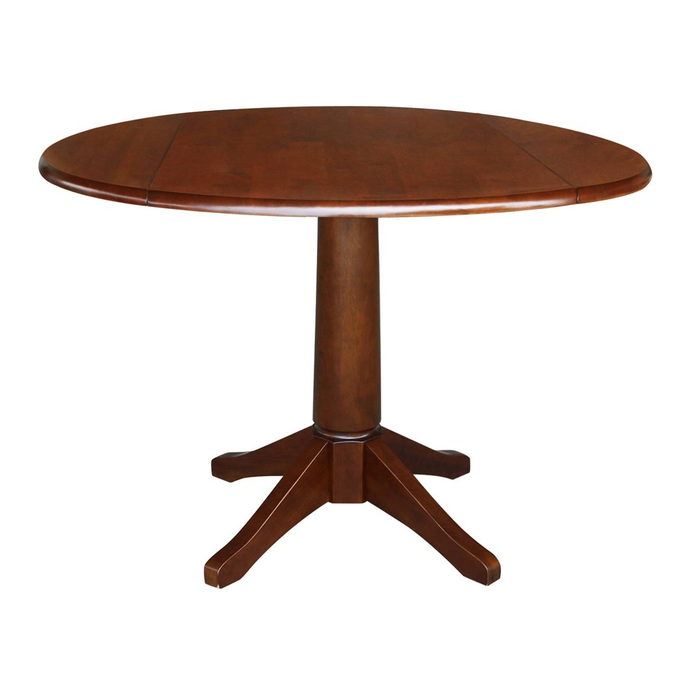 "Image of ""30.3"""" Thea Round Dual Drop Leaf Table Espresso Brown - International Concepts, Size: 30.3"""" H"""