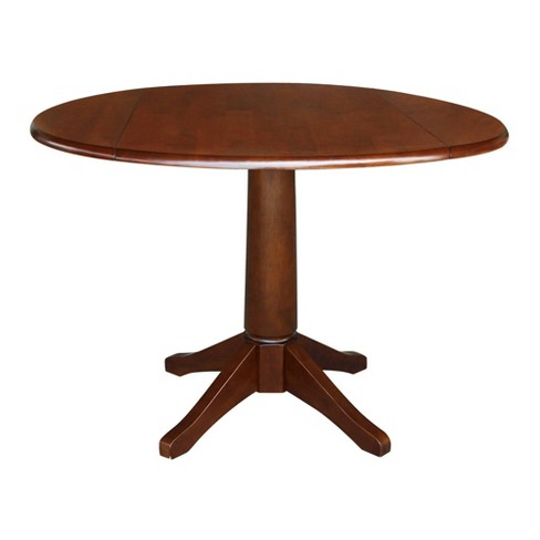 Thea Round Dual Drop Leaf Table Espresso Brown - International Concepts - image 1 of 4