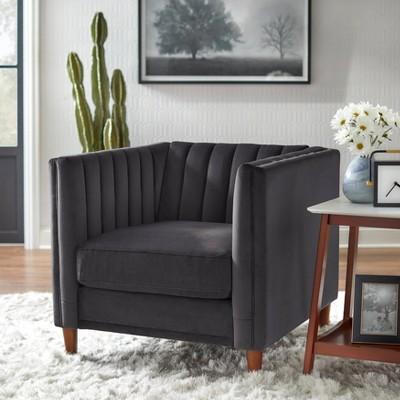 Paxton Channel Back Tuxedo Chair Dark Gray Lifestorey Target