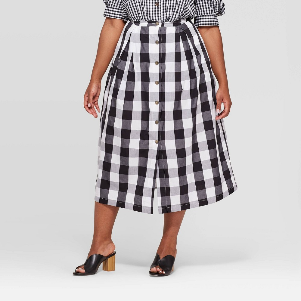 Women's Plus Size Gingham Button Front A-Line Midi Skirt - Who What Wear Black/White 24W