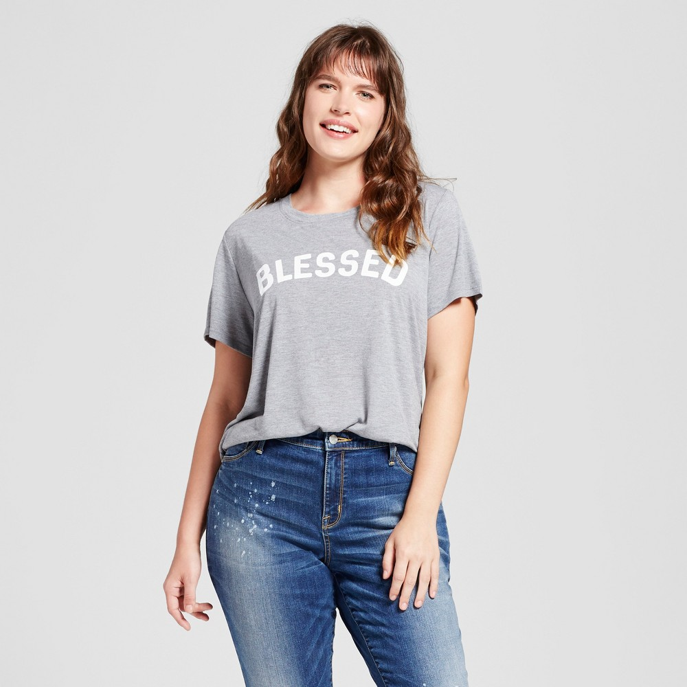 Women's Plus Size Blessed Graphic T-Shirt Gray 3X - Modern Lux