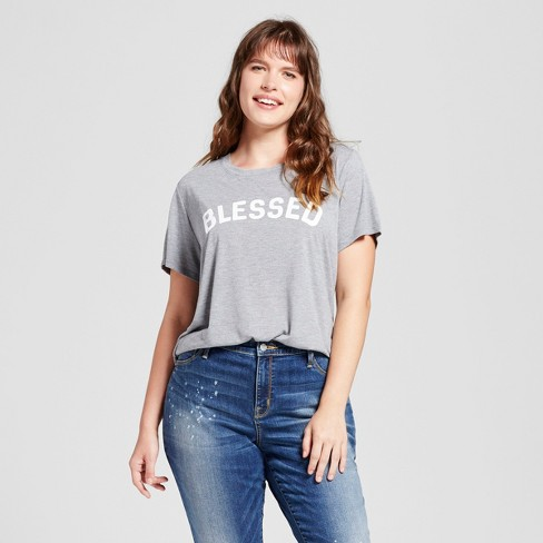 9dd5058aeeb783 Women's Plus Size Blessed Graphic T-Shirt Gray - Modern Lux : Target