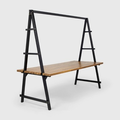 Huckleberry Rectangle Acacia Wood Patio Dining Table with Iron Plant Hanger Teak/Black - Christopher Knight Home