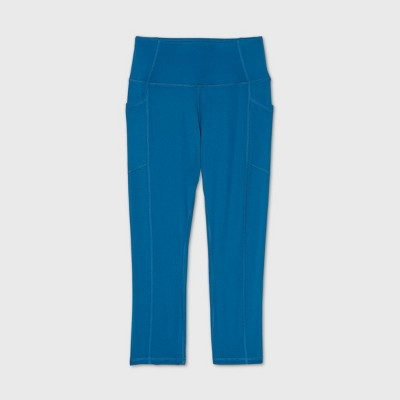 "Women's High-Waisted Sculpted Streamline Capri Leggings 21"" - All in Motion™ Teal"