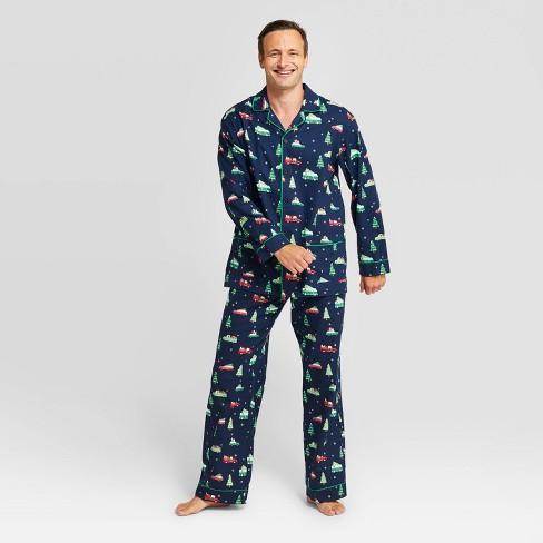 Men's Holiday Car Flannel Pajama Set - Wondershop™ Navy - image 1 of 3