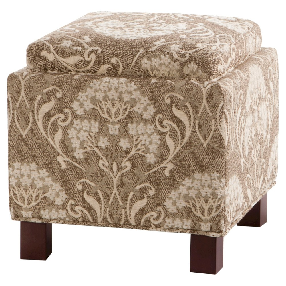 Shelly Square Storage Ottoman with Pillows Beige