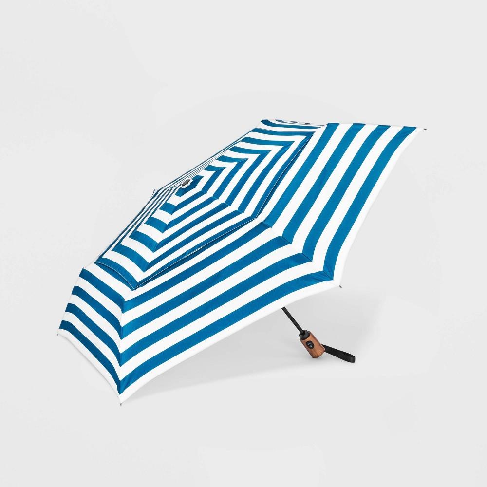 Image of Cirra by ShedRain Striped Air Vent Auto Open Close Compact Umbrella - Blue