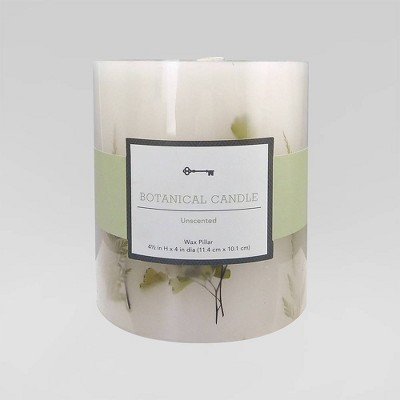 """4.5"""" x 4"""" Unscented Botanical Pillar Candle Green Leaves - Threshold™"""