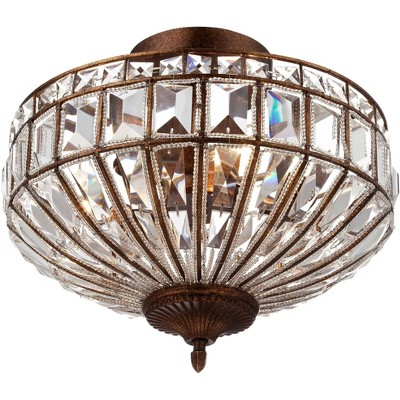 """Vienna Full Spectrum Ceiling Light Semi Flush Mount Fixture Mocha Brown 15"""" Wide Faceted Clear Crystal Accents for Bedroom Kitchen"""