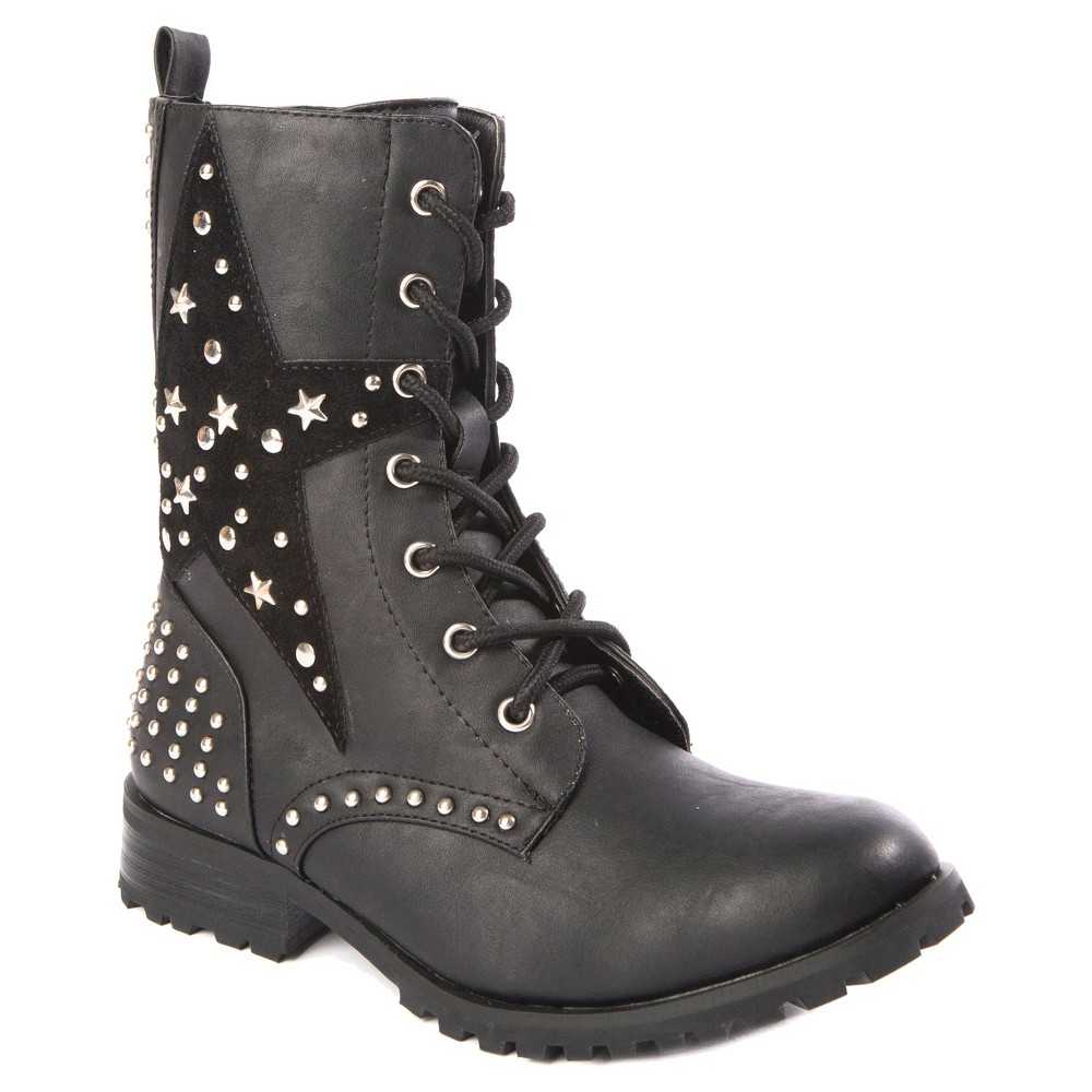 Girls' Gia-Mia Star Combat Boots Black 1