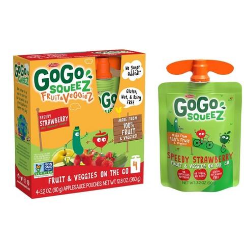 GoGo SqueeZ Fruit & VeggieZ Speedy Strawberry On-the-Go-Pouch, Apple, Strawberry, Zucchini 4ct / 3.2oz - image 1 of 4