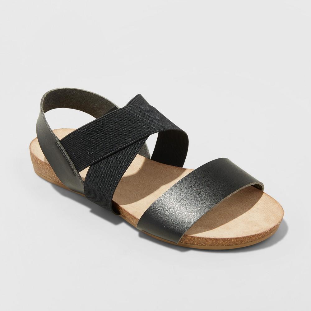 Women's Kerryn Wide Width Footbed Sandals - Universal Thread Black 9.5W, Size: 9.5Wide