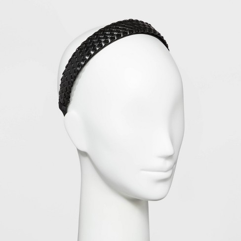 Wide Basket Wave Faux Leather Cover Top Headband - Wild Fable™ Black - image 1 of 1