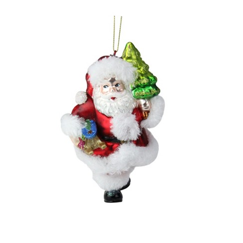 """Northlight 6"""" Festive Fur and Glitter Accented Santa Claus Glass Christmas Ornament - White/Red - image 1 of 2"""