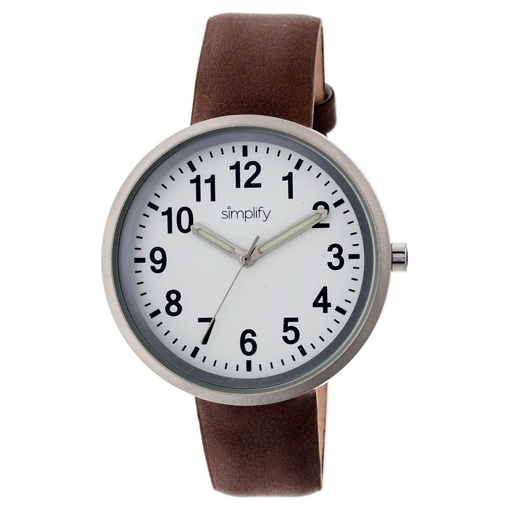 Simplify The 2600 Women's Leather Strap Watch - Dark Brown, Hot Fudge