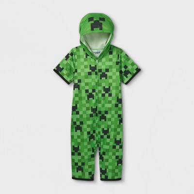 Boys' Minecraft Creeper Pajama Romper - Green