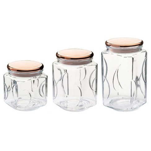 Kinetic Go Green Wide Copper Style Glass Canister Storage Set - 3ct - image 1 of 3