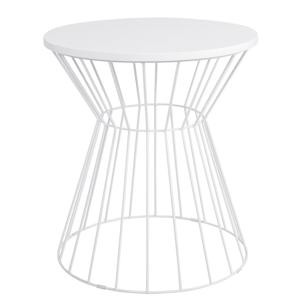 Image of Bent Metal Side Table White - Adore Decor