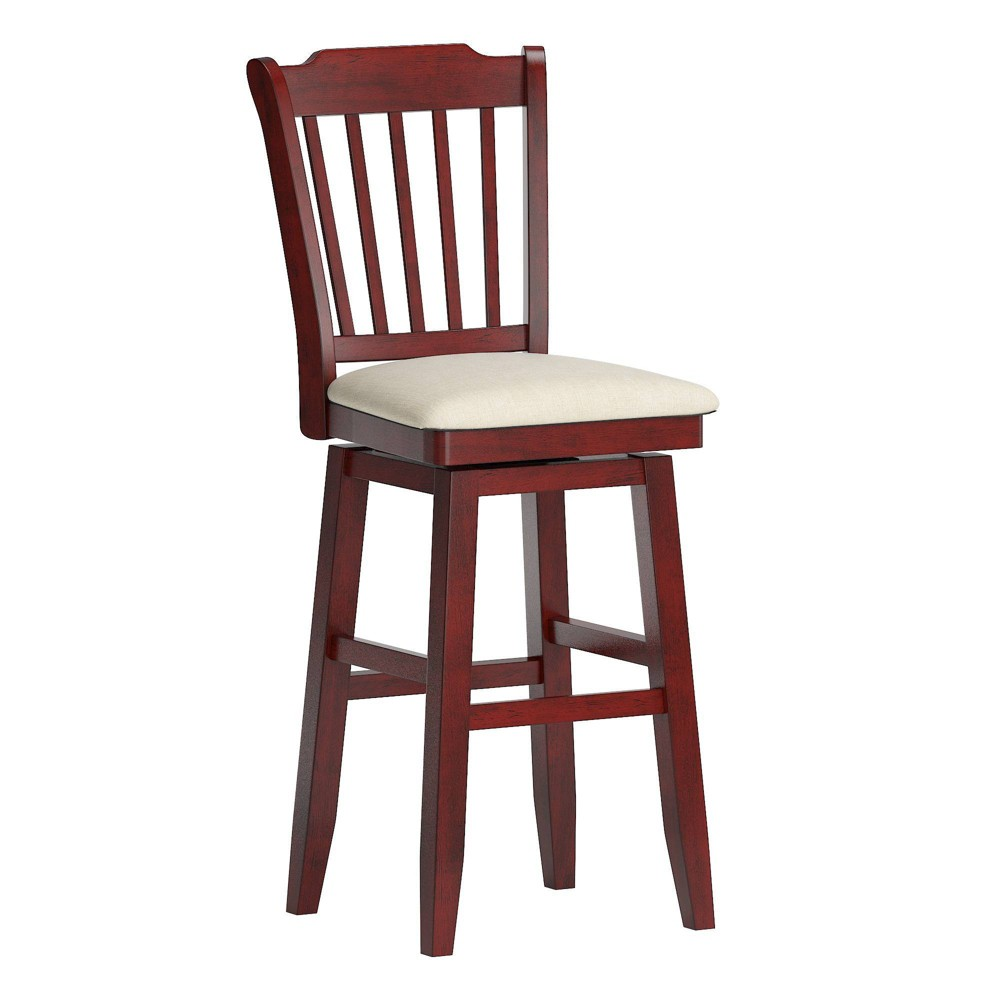 29 34 South Hill Slat Back Wood Swivel Height Barstool Chair Ruby Red Inspire Q
