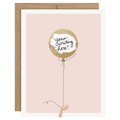 """6ct """" Your Writing Here"""" Balloon Scratch-off Greeting Cards"""