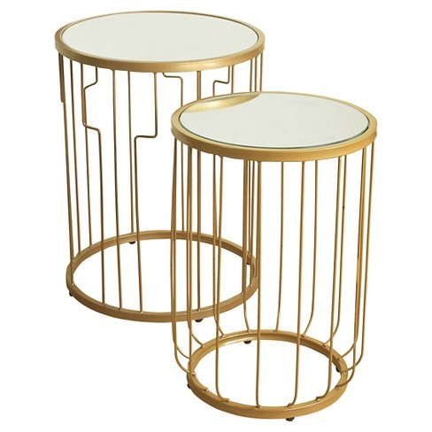 Nesting Tables Gold Mirrored - HomePop - image 1 of 3