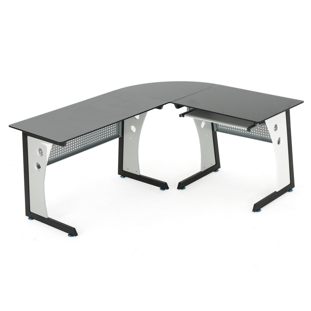 Oria L-Shaped Desk with Tempered Glass - Black/Grey - Christopher Knight Home