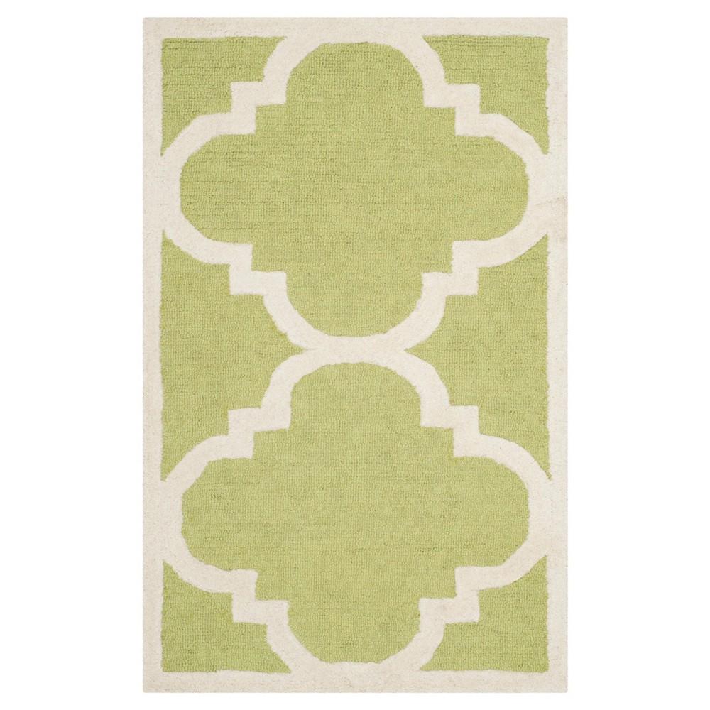 Landon Texture Wool Rug - Green / Ivory (2'6 X 4') - Safavieh, Green/Ivory