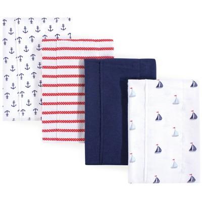 Luvable Friends Baby Boy Cotton Flannel Burp Cloths 4pk, Sailboat, One Size