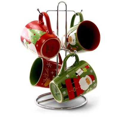 Gibson Home 15oz 4pk Stoneware Santa Smile Assorted Mugs