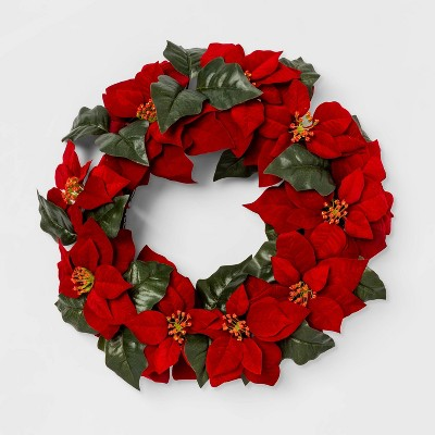 22  Artificial Poinsettia and Leaves Wreath Red/Green - Threshold™