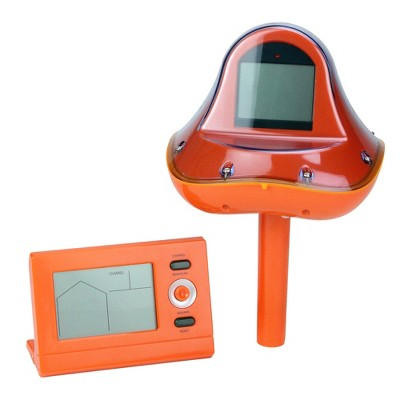 "Pool Central Wireless Digital Swimming Pool Thermometer with Receiver Station 3.25"" - Orange"